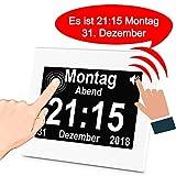iGuerburn Digitale Sprechende Uhr Touchscreen Tageskalender Wecker für Senioren Ältere Demenz Alzheimer Gedächtnisverlust Sehbehinderte Blindheit (Weiß, 20cm)
