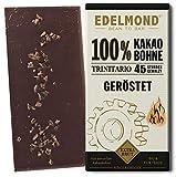 Langzeitgeführte Edelmond Schokolade 100 % geröstet. Keine Kakaomasse. Ein bitteres Kakaobohnen Geschenk, fein abgeschmeckt (1 Tafel)