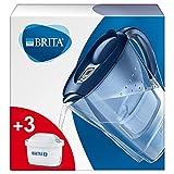 Brita 1030090 Wasserfilter Marella blau inkl. 3 MAXTRA+ Filterkartuschen – BRITA Filter Starterpaket zur Reduzierung von Kalk, Chlor, Blei, Kupfer & geschmacksstörenden Stoffen im Wasser