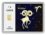 New Edition 1g Goldbarren 999,9 Feingold in Motivbox'Sternzeichen Widder' in edler Goldverpackung