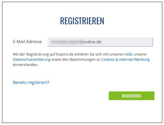 registrierung exporo