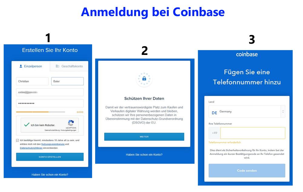 Bitcoins kaufen - Anmeldung bei Coinbase