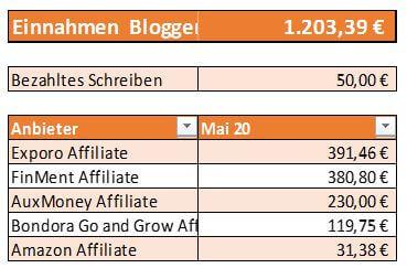 Einnahmen durch Bloggen